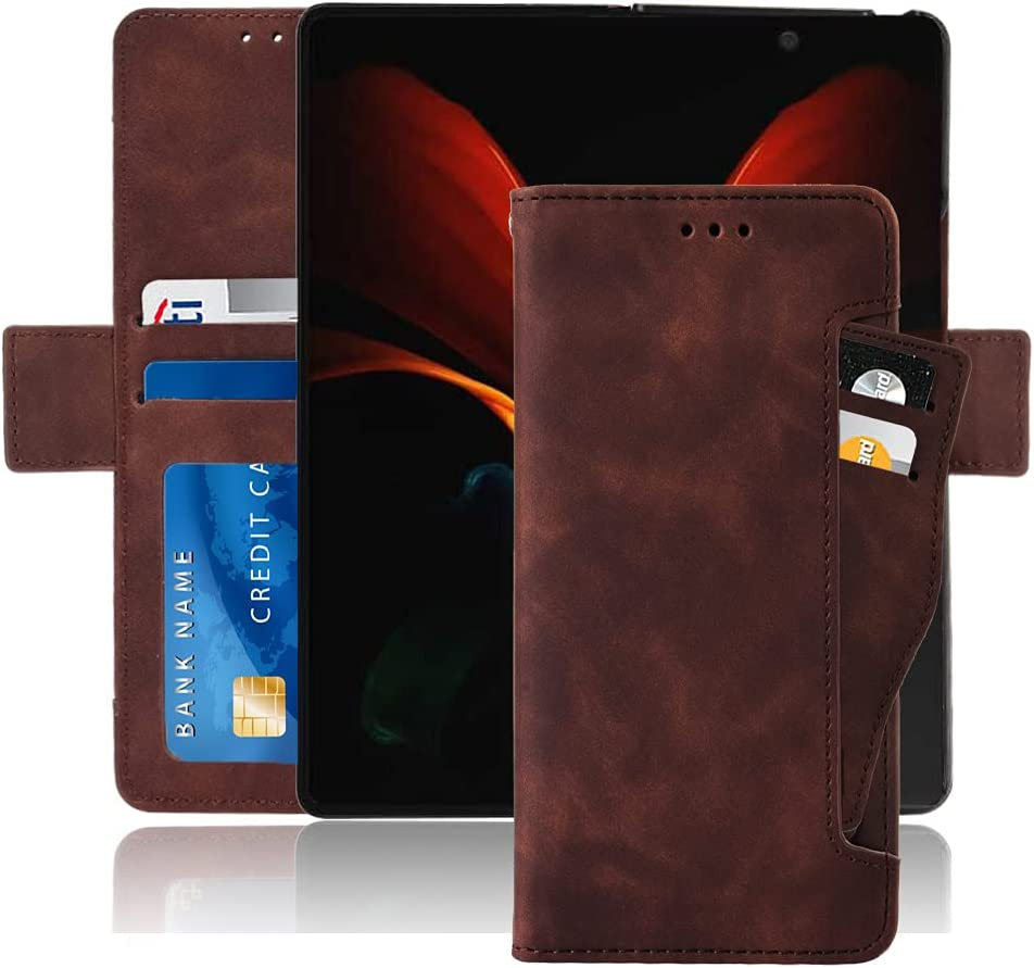 Hackers' Galaxy Z Fold 2 5G Case, Galaxy Z Fold 2 Wallet case, Classic Leather Wallet Foldable Case with Credit Card Holder Slots Flip Wallet Case for Samsung Galaxy ZFold2 5G - (Brown)