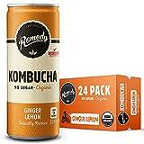 Remedy Raw Organic Kombucha Tea - Sparkling Live Cultured Drink - Sugar Free Ginger Lemon - 8.5 Fl Oz Can, 24-Pack