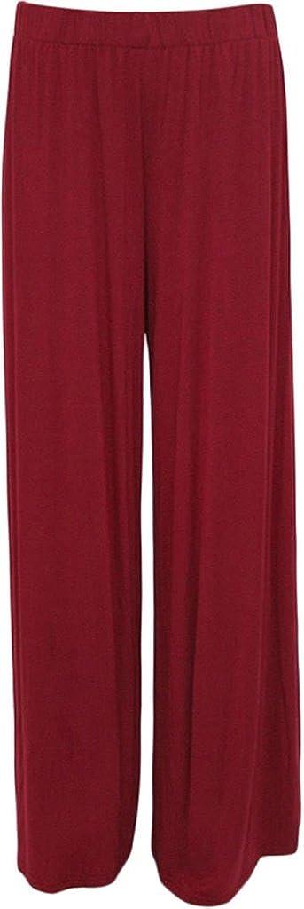 ZJ Clothes Plus Size Womens Plain Palazzo Wide Leg Flared Ladies Trousers Pants 8-26