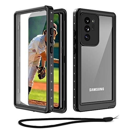 Beeasy Funda Samsung Note 20 Ultra 5G Impermeable, IP68 Certificado Sumergible Carcasa,360 Grados Protección con Protector de Pantalla Incorporado,Militar Antigolpes Antichoque Estanca, Negro