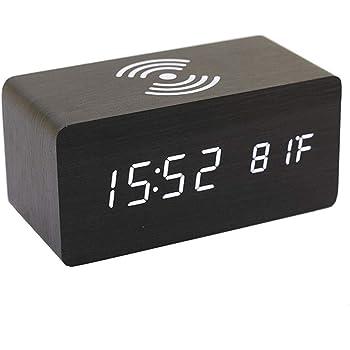 Adminitto88 Holz Digitaler Wecker Uhr Digitaler Thermometerwecker Wecker Digitale Tischuhr LED Datum Feuchtigkeit Temperatur Holz Standuhr Dekoration Alarm Für Schlafzimmer/Büro