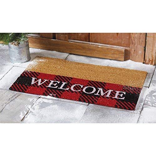 Mud Pie Buffalo Check Welcome Doormat Fußmatte, Synthetisch, Red, Black, Brown, 30