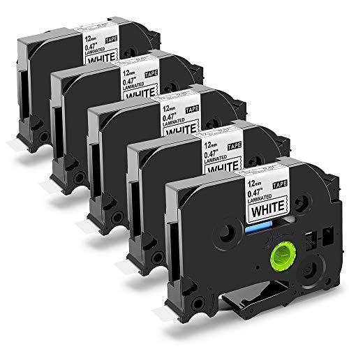 5x laminiertes Schriftband Kompatibel zu Brother P-Touch Tze-231 12mm x 8m, Schwarz auf Weiß,kompatibel mit Beschriftungsband Brother D400VP  D400 H100LB P700 PT1010 P750W PT1000 uvm.