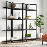 Tribesigns 71 Inches Wide Foldable 4-Tier Open Bookcases Furniture, Folding Etagere Bookshelf, Large Book Shelves for Home Kitchen Organizer (Black)