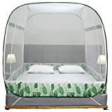 Instalación de mosquitero yurta gratis cama de 1.8m 1.5 hogar simple niño resistente a caídas niño plegable 2 metros princesa wind Mood amarillo cama de 1.8m (6 pies)