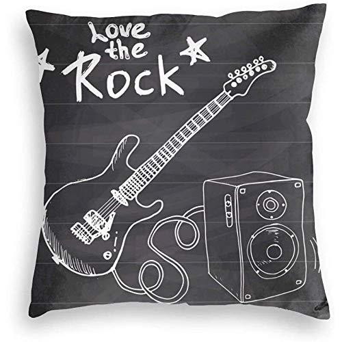 Funda de almohada de algodón con cremallera tamaño estándar cuadrado Love The Rock 40 x 40 cm Funda de cojín decorativa para oficina en casa