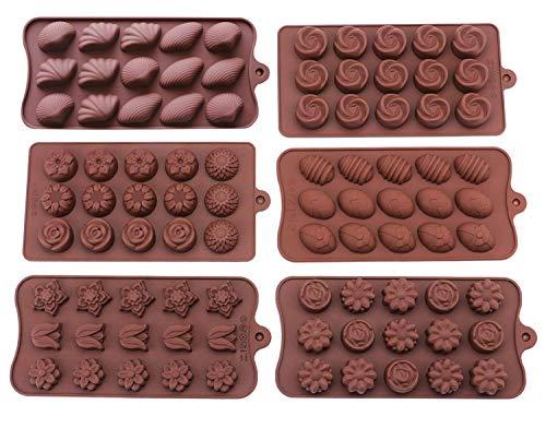 Bekith Lot de 6moules en silicone Candy antiadhésif–Moules en silicone pour chocolat Jelly Bonbons gâteau DIY–Moules à chocolat Moules en silicone Candy Moule