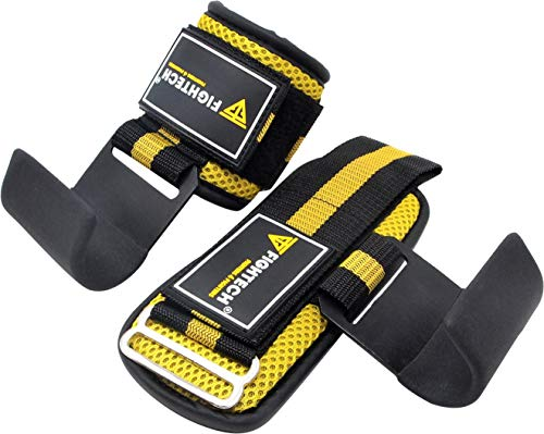 FIGHTECH Lifting Hooks for Weight Lifting | Hook Grips with Wrist Wraps & Straps for Powerlifting Weightlifting Grip & Wrist Support for Deadlifts & Everyday Gym Workout (YEL)
