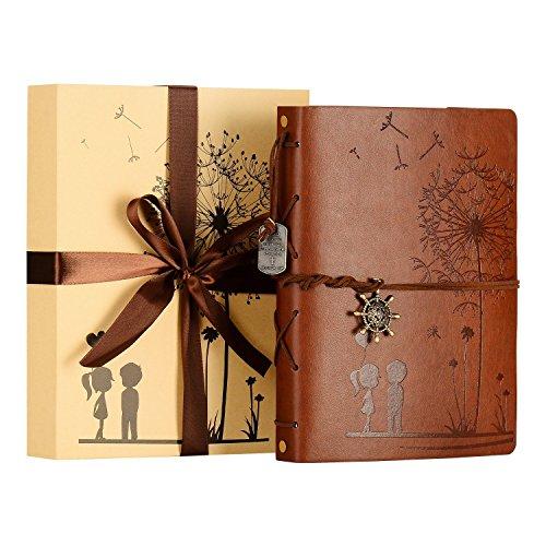 ZEEYUAN Fotoalbum zum Selbstgestalten 60 Seiten 18x22cm Vintages Gästebuch Muster Leder Fotobuch mit Eckaufklebern als Schönes Geschenk zum Valentinstag Geburtstag und Weihnachten für Paare Freude