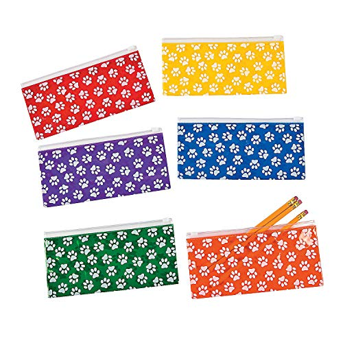Fun Express Paw Print Pencil Case - 12 Pieces - Educational and Learning Activities for Kids