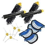 YanBan - Juego de 4 filtros AeroVac Azules + 2 cepillos Principales + 4 cepillos Laterales para iRobot Roomba 600 Series 620 630 650 660 Accesorios de Repuesto