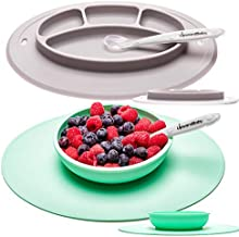 Toddler Plate and Bowl Set with Suction for Kids - UpwardBaby Silicone Non Slip Baby Feeding Set Placemats with Spoons Included - BPA Free