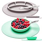 UpwardBaby Toddler Plates and Bowls Set with Suction for Kids Silicone Non Slip Baby Feeding Set Placemats with Spoons Included - BPA Free