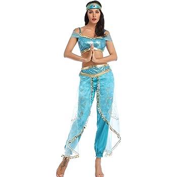 ZHEN Mujeres Adultas 3 Piezas Jasmine Aladdin Princesa árabe ...