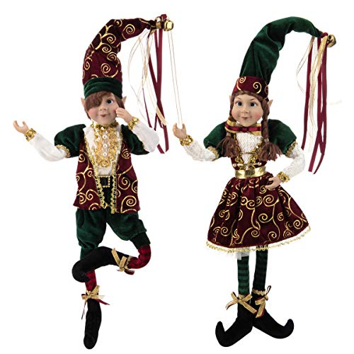 """ARCCI 24"""" Christmas Elves Posable Elf Xmas Figure - Set of 2 Red and Green Posable Elf Christmas Figure, Xmas Holiday Party Home Decoration (Green & Red)"""