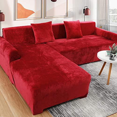 TIYKI Elástica Grueso Funda De Sofa,Cubierta De Sofá Cama De Color Sólido,Salón Polyester Spandex Protector De Muebles,L Forma Cubiertas De Couch para Seccional-Rojo. 190-230cm(1pic)