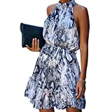 ZIPSAK Sundress Women Halter Neck Sleeveless Mini Short Dress Fashion Ruffle Party Boho Dress Floral Dress for Women