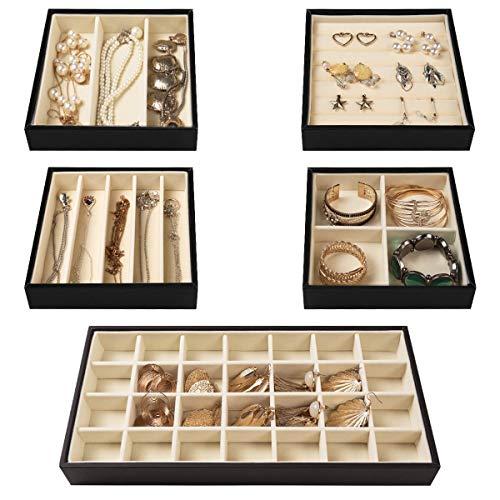 VIEFIN Stackable Jewelry Trays for Drawer5 in 1 Jewelry Display Trays for Show Women GirlsDrawer Jewelry Organizer Trays for Ring StudNecklaceBracelet StorageBeige