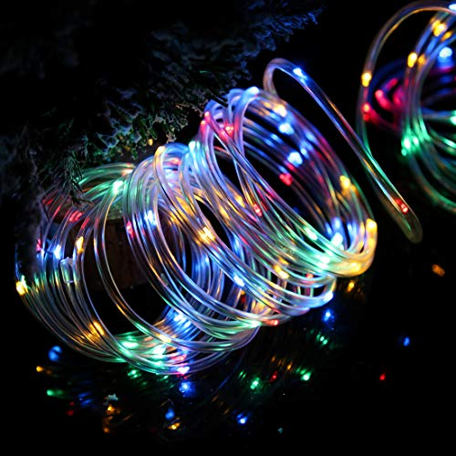 DLTND Solar Rope Lights Outdoor Waterproof IP67 200LED String Lights Christmas Lights PVC Tube Fairy Lights for Pool Garden Yard Patio Gazebo Awning Xmas Tree Party Wedding Camping(MLTI-Clr7 Clear)
