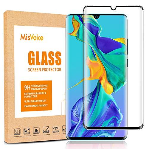 MisVoice Displayschutzfolie für Huawei P30 Pro, [Full Glue] gehärtetes Glas Displayschutzfolie für P30 Pro Smartphone, Anti-Fingerabdruck & Kratzschutz, HD-Klarfolie