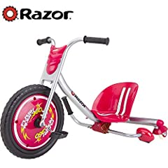 Based on Razor's award-winning caster tricycle, this zippy version turns and drifts on dual inclined caster wheels, with an exciting Spark Bar feature Welded steel frame and fork, dual inclined casters for drifting and spinning action, and high-impac...