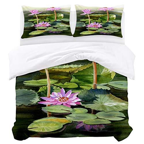 Modern Soft 3 Pieces Bedding Duvet Cover Set, 1 Duvet Cover and 2 Pillowshams for Bedroom The Natural Scenery of Green Lotus Leaves and Purple Lotus on the River Lightweight Comforter Cover Full