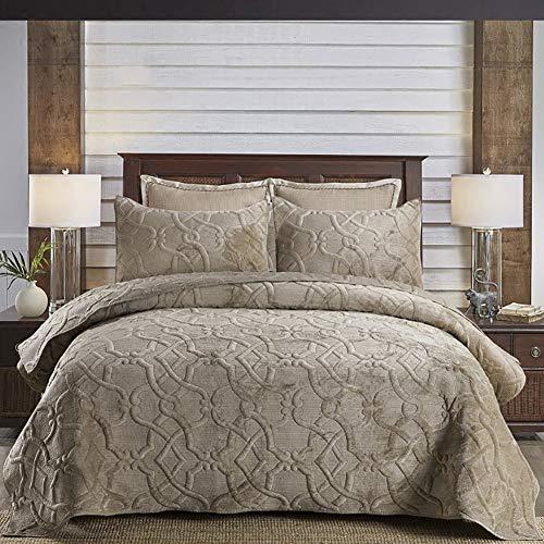 Warm Plüsch Luxus Gesteppt Tagesdecke, Reversibel Baumwolle Hautfre&lich Bestickt Betttuch-Set, Enthält 2 Kissenbezüge,Braun,270 * 233cm