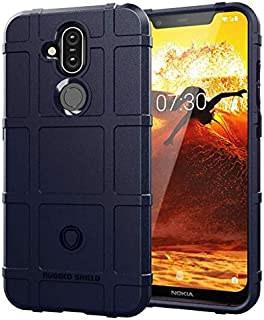 Nokia 8.1 case shield shape silicone soft phone shell anti fall protective sleeve blue cover