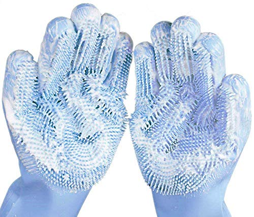 Magic Silicone Dishwashing Gloves,Kitchen Cleaning Gloves with Brush Scrubbing