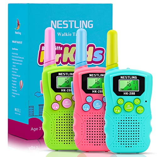 Walkie Talkies for Kids, 22 Channels 2 Way Radio Toy with Backlit LCD Flashlight, 3 Miles Range - Best Christmas Birthday Gifts for 3-12 Year Old Boys and Girls, 3 Pack