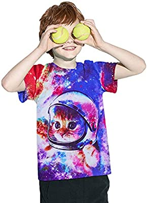 UNICOMIDEA Kids Boys T-Shirts Crew Neck Tees with 3D Print Graphic Short Shirts Slim Tops Summer Clothes for 6-16 Years