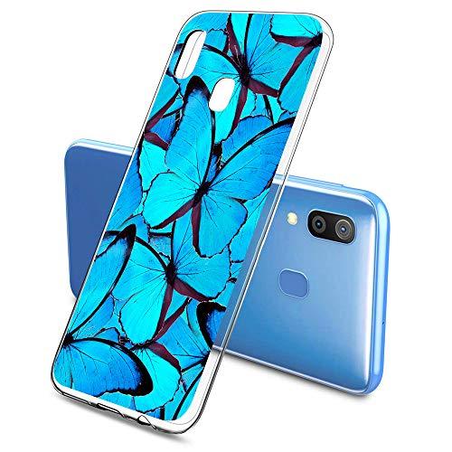 Oihxse Silicone Transparente Case avec Motif Papillon Compatible pour Samsung Galaxy A6 2018 Coque Souple TPU Gel Mode 3D Dessin Étui Ultra Mince Antichoc Anti-Rayures Protection Cover,Bleu 2