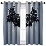 Juego de 2 cortinas de comedor The Carnage Detrás de Batman, 140 x 100 cm, color negro