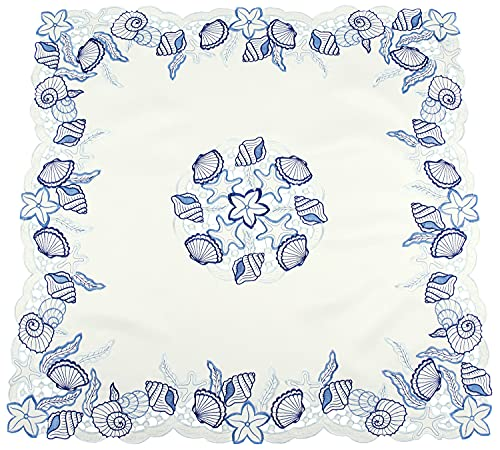 Embroidered Blue Coral Seashell on White Table Runners and Table Topper (33Wx33L)