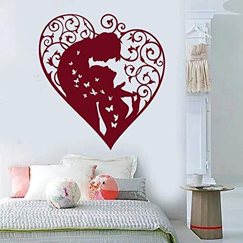 WERWN Amor corazón Pegatinas de Pared Hombres y Mujeres Parejas calcomanías de Vinilo Tema romántico Pareja Dormitorio decoración Pegatinas de Pared