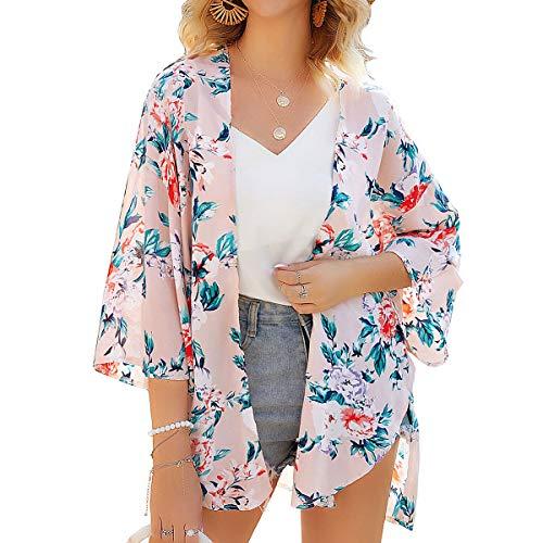 YONHEE Damen Florale Kimono Cardigan - Floral Cover Up Chiffon Print Kimono Beachwear Boho Sommer Casual Bluse Badebekleidung Cardigan Badeanzug (White, X-Large)