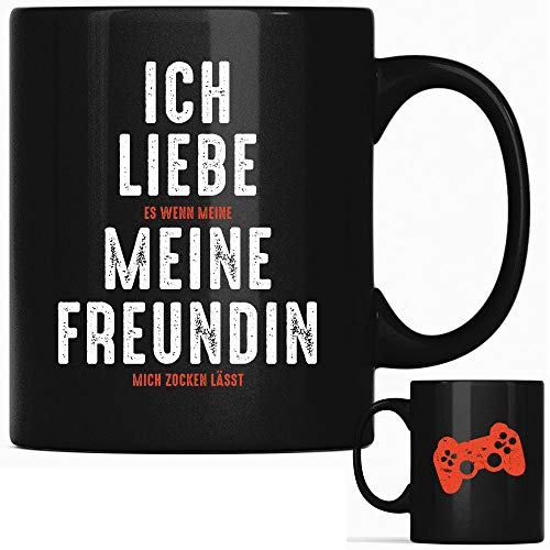 Ich liebe es wenn meine Freundin mich zocken lässt, Computer Tasse Gamer Tassen Geschenk, Gaming Spruch Kaffeetasse Nerd Geschenke mit Sprüchen lustig (Freundin)
