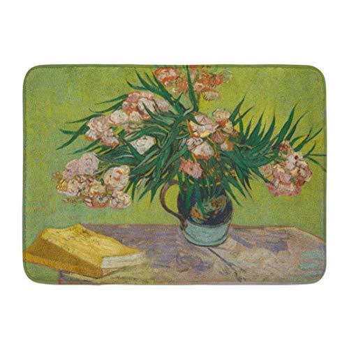 Fußmatten Bad Teppiche Outdoor / Indoor Türmatte Oleanders von Vincent Van Gogh 1888 Niederländische Post Impressionist Öl auf Leinwand Die Blumen füllen Majolika Krug Bad Dekor Teppich Badmatte