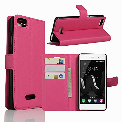 Tasche für Wiko Fever Special Edition Hülle, Ycloud PU Ledertasche Flip Cover Wallet Hülle Handyhülle mit Stand Function Credit Card Slots Bookstyle Purse Design Rose Red