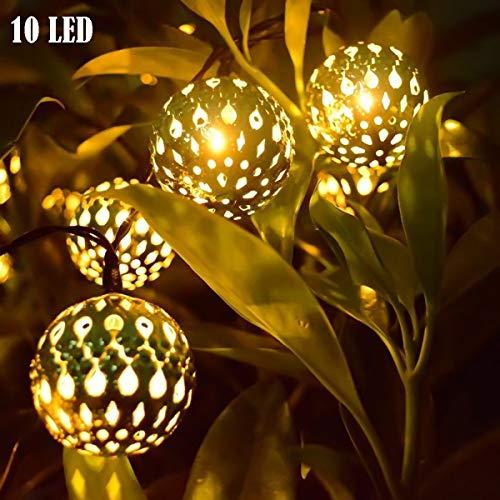 ALLOMN Solar Lampe, Solar Globe Lichterketten LED Lichterketten Solarbetriebenes Lichterketten, 10 LEDs Marokkanisches Lichterketten, 8 Modi Auto Ein/Aus, Garten Dekoration Licht