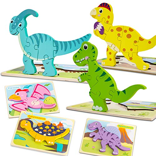 Toddler Puzzles, Aywewii 6 Pack Wooden Dinosaur Puzzles for Toddlers Kids 1 2 3 4 Years Old, Educational Preschool Toys Gifts for Boys Girls