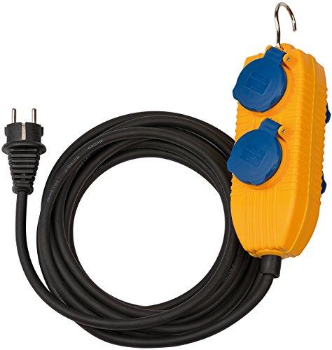 Brennenstuhl 1169200010 H07RN, F3G1, 5 IP54, Cable para construcción, 5 m, con Bloque Powerblock Powerbo, Color Negro, Amarillo, 5 Meter