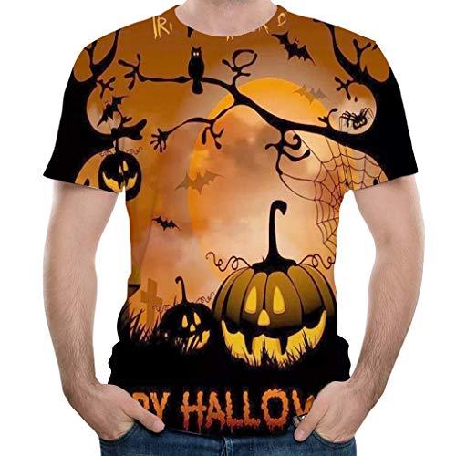Los hombres del tamaño extra grande de Halloween de manga corta del O-cuello de la camiseta esquelético asustadizo órganos internos calabaza 3D Impreso Pullover Tops Partido divertida del día Graphic