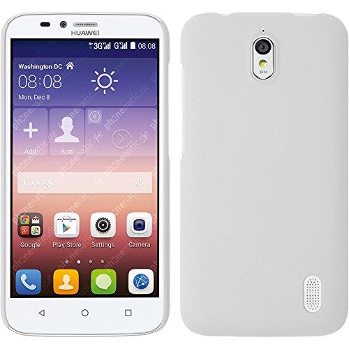 PhoneNatic Case kompatibel mit Huawei Y625 - Hülle weiß gummiert Hard-case + 2 Schutzfolien