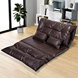 JAXPETY Adjustable Folding Leisure Sofa Bed, Floor Chaise Lounge Sofa Chair with 2 Pillows and 5 Reclining Position, Video Gaming Sofa for Bedroom Living Room (PU Leather, Black)