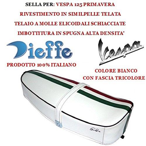 Dieffe P0030FTB - Sillín vintage para Vespa 125 Primavera, tejido de piel sintética blanco, asiento Dieffe con banda tricolor Dieffe, relleno de esponja fabricado en Italia