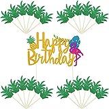 25 Pièces Cupcake Toppers Ananas Topper de Gâteau Flamant Happy Birthday Choix de Gâteaux pour Hawaiian Luau Tropical Décorations de Fête d'Été (Style Set 1)