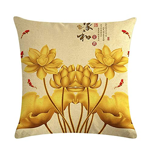 Fundas de almohada de 45,7 x 45,7 cm, diseño retro de flores de loto de color amarillo dorado y lino, funda de almohada para decoración del hogar