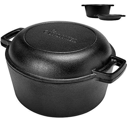 PreSeasoned Cast Iron Skillet and Double Dutch Oven Set – 2 In 1 Cooker: 5 Quart Deep Pan 10Inch Frying Pan Converts to Lid for Dutch Oven – Grill Stove Top and Induction Safe