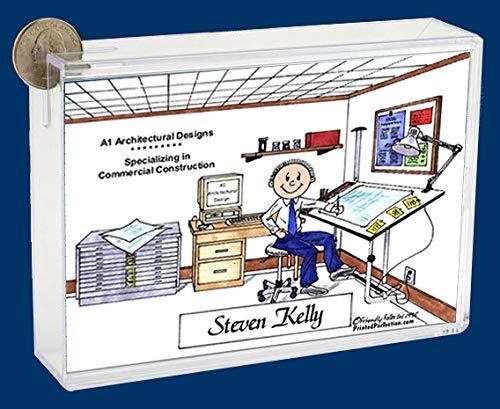 Personalized Friendly Folks Cartoon Caricature Bank: Architect, Engineer, Surveyor, Estimator, Draftsman – Male
